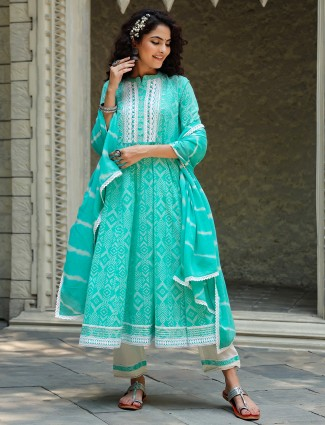 Festive wear aqua punjabi anarkali style cotton kurti set