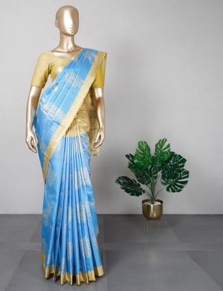 festive wear banarasi cotton silk saree in aqua blue