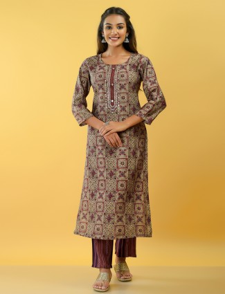 Festive wear beige cotton kurti set with sequins details