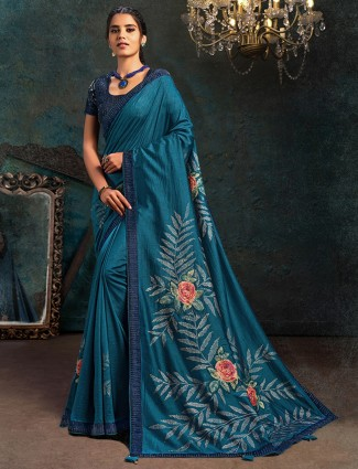 Festive wear blue printed marble chiffon saree