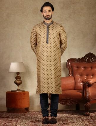 Festive wear brown linen kurta suit
