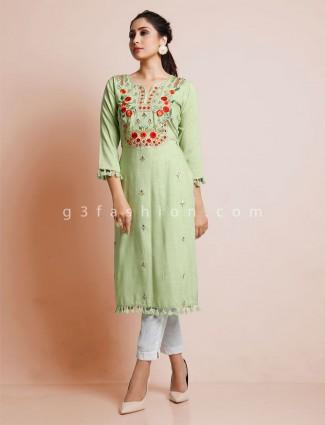 Festive wear cotton green only kurti