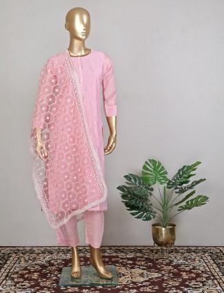 Festive wear cotton silk baby pink pant style suit