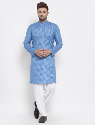 Festive wear cotton sky blue printed kurta suit