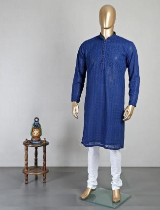 Festive wear dark blue georgette kurta suit