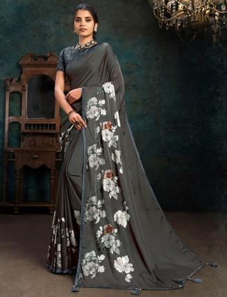 Festive wear dark grey marble chiffon saree