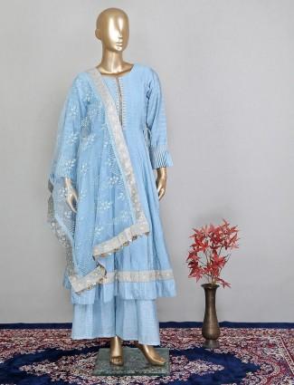 Festive wear designer blue colour palazzo suit