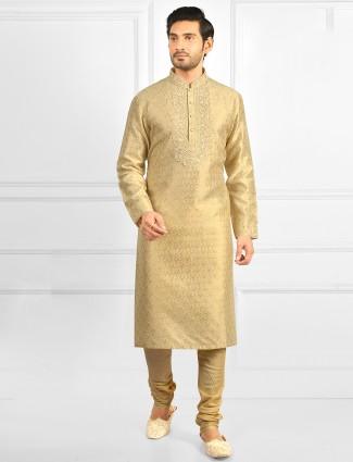 Festive wear golden tint kurta suit for mens in cotton silk