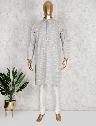 Festive wear grey cotton kurta suit