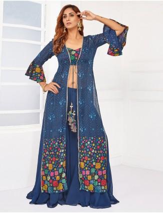 Festive wear ink blue georgette palazzo suit