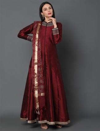Festive wear latest maroon anarkali in dupion silk