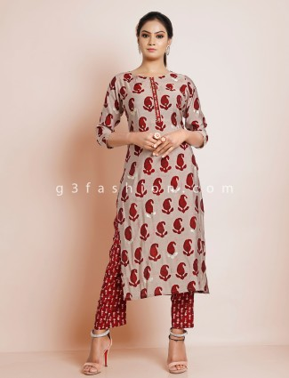 Festive wear maroon printed cotton punjabi style pant suit