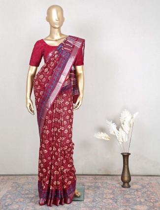 Festive wear maroon saree in cotton