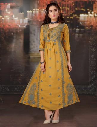 Festive wear mustard cotton kurti