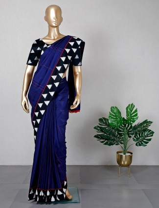 Festive wear navy cotton fabric saree for women