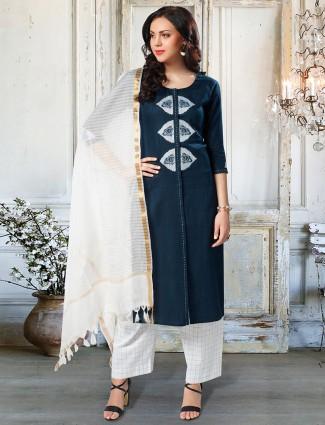Festive wear navy cotton punjabi palazzo suit