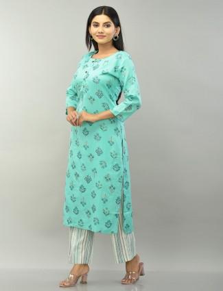 Festive wear ocean green cotton punjabi style pant suit