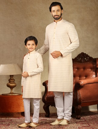 Festive wear peach stand collar father and son concept kurta suit
