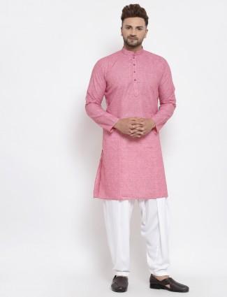 Festive wear pink cotton kurta suit