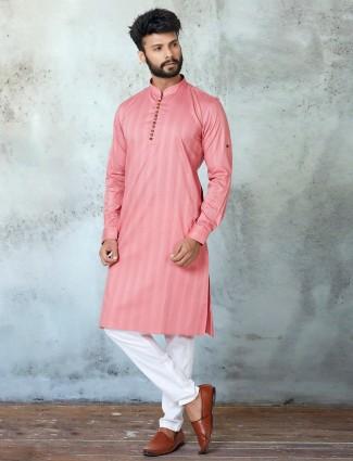Festive wear pink cotton  kurta suit for mens