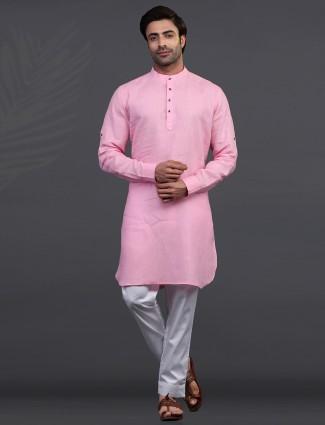 Festive wear pink stand collar kurta pajama