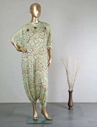 Festive wear pista green dhoti style salwar suit