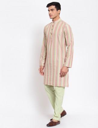 Festive wear pista green striped kurta suit in cotton