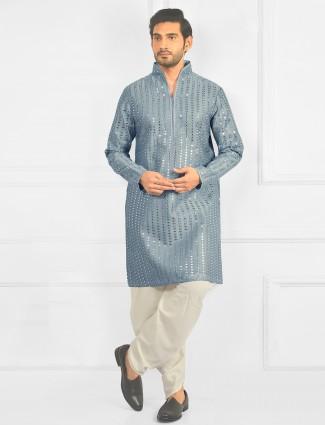 Festive wear powder kurta coupled with pyjama