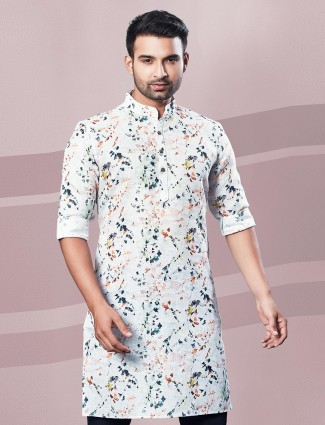 Festive wear printed cream cotton kurta