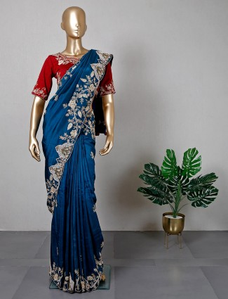 Festive wear blue cotton silk saree with ready made blouse