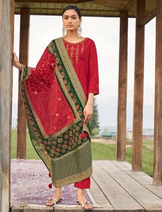 Festive wear red cotton punjabi style pant suit