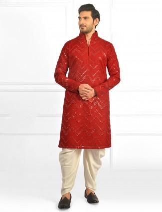 Festive wear red kurta with dhoti pants