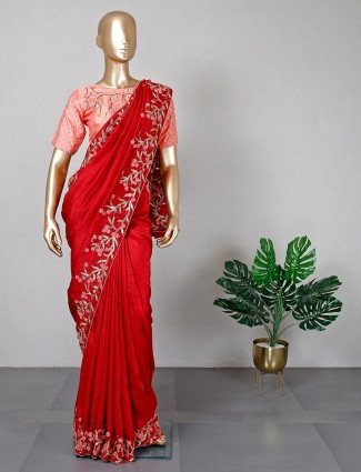 Festive wear red silk saree with ready made blouse