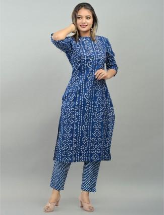 Festive wear royal blue cotton printed punjabi style pant suit