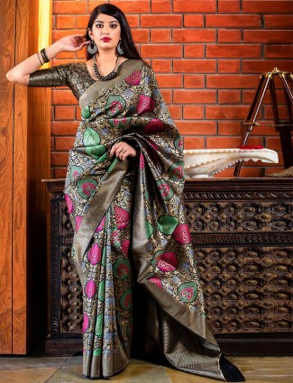 Festive wear saree in black color