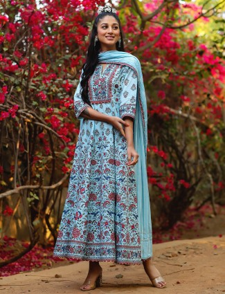 Festive wear sky blue anarkali style cotton kurti
