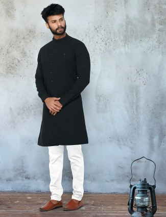 Festive wear solid black stand collar georgette kurta suit