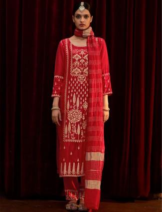 Festive wear stunning red silk kurti set