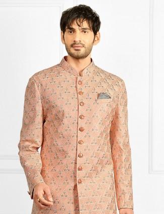 Festive wear wedding wear indowestern in peach hue
