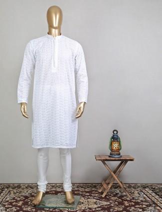 Festive wear white cotton kurta suit for mens