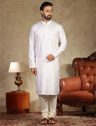 Festive wear white hue stand collar linen kurta suit