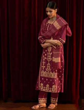 Festive wear wine punjabi silk kurti set