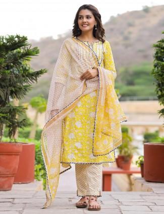 Festive wear yellow cotton kurti set with gota details