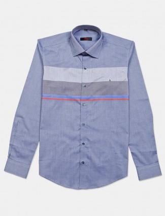 Fete blue color slim fit stripe shirt