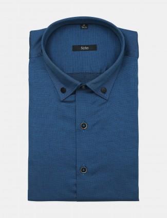 Fete blue formal wear shirt for men in slim-fit style