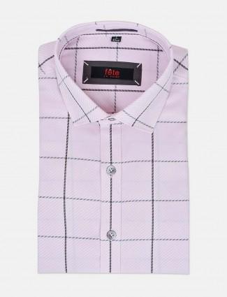 Fete formal wear baby pink checks shirt
