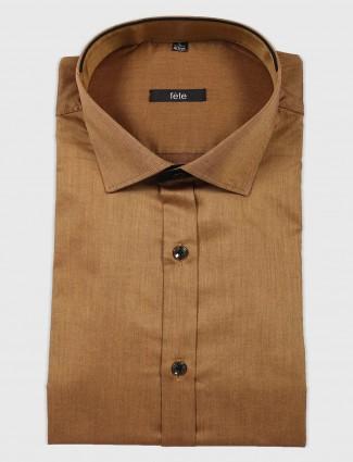 Fete formal wear brown solid shirt