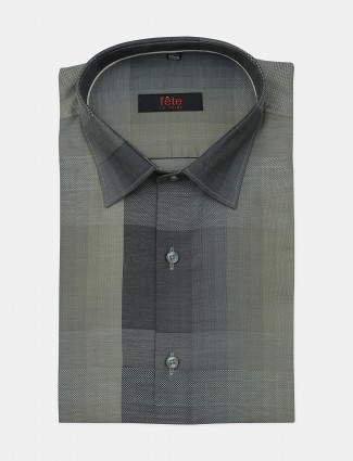 Fete grey solid cotton blue hue shirt