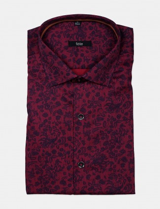 Fete presented maroon printed formal cotton shirt