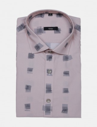 Fete printed onion pink formal wear shirt for mens